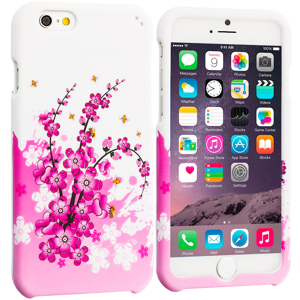 Apple iPhone 6 6S (4.7) Spring Flowers Hard Rubberized Design Case Cover