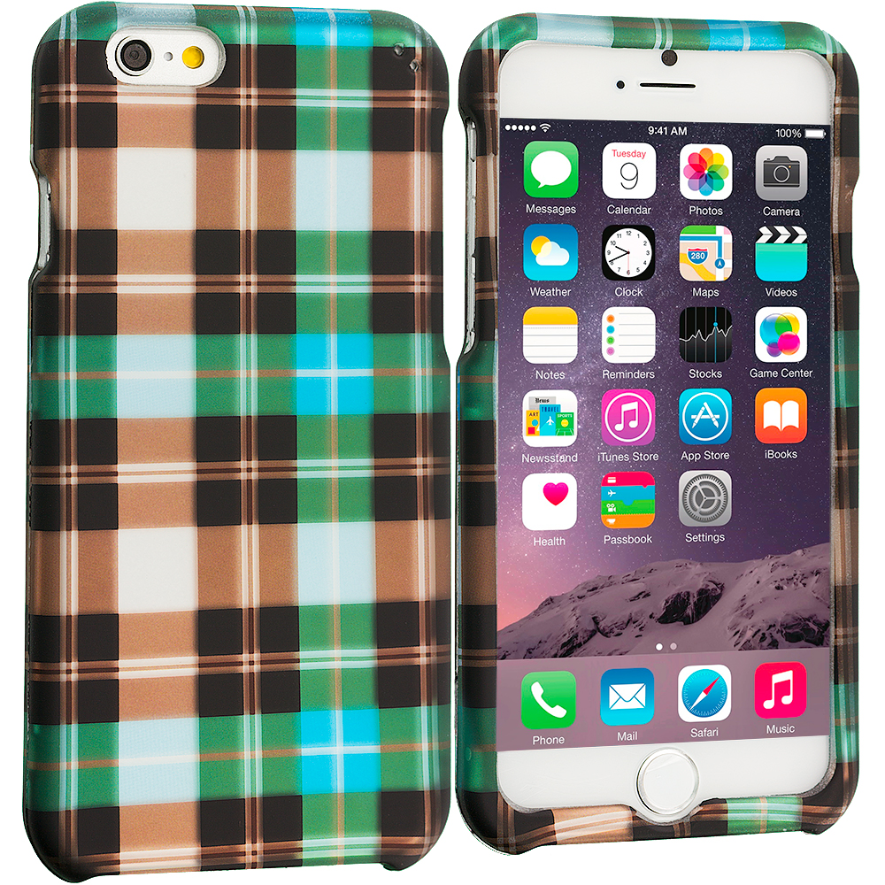 Apple iPhone 6 Plus 6S Plus (5.5) Blue Checkered 2D Hard Rubberized Design Case Cover