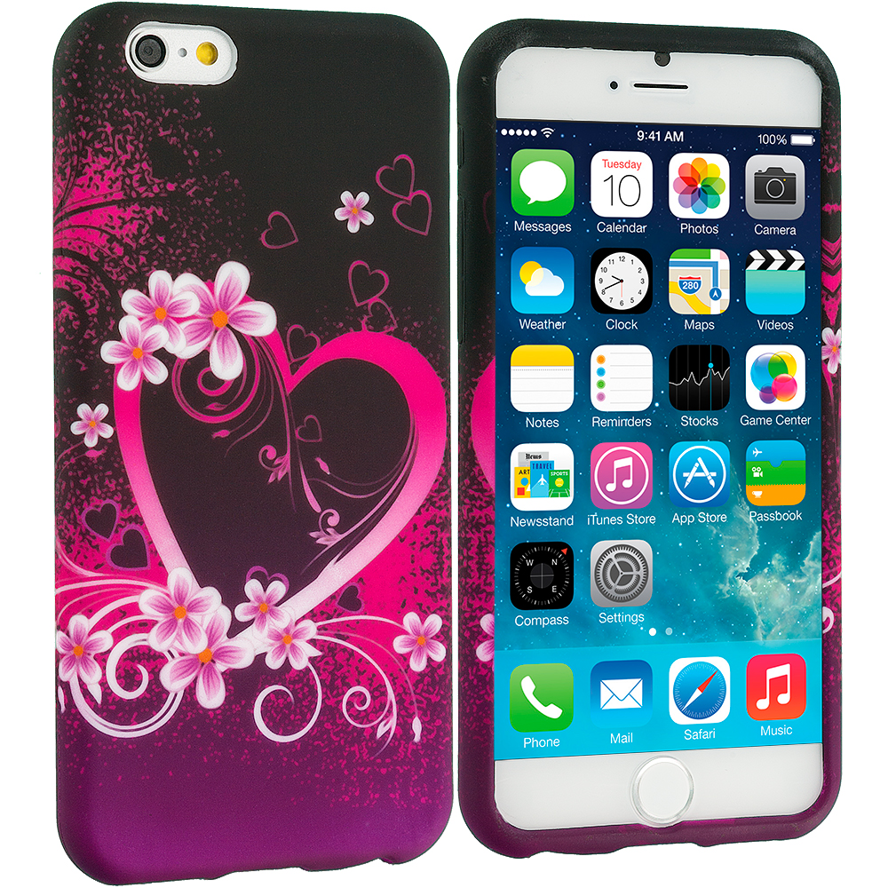 Apple iPhone 6 Plus 6S Plus (5.5) Purple Love TPU Design Soft Rubber Case Cover