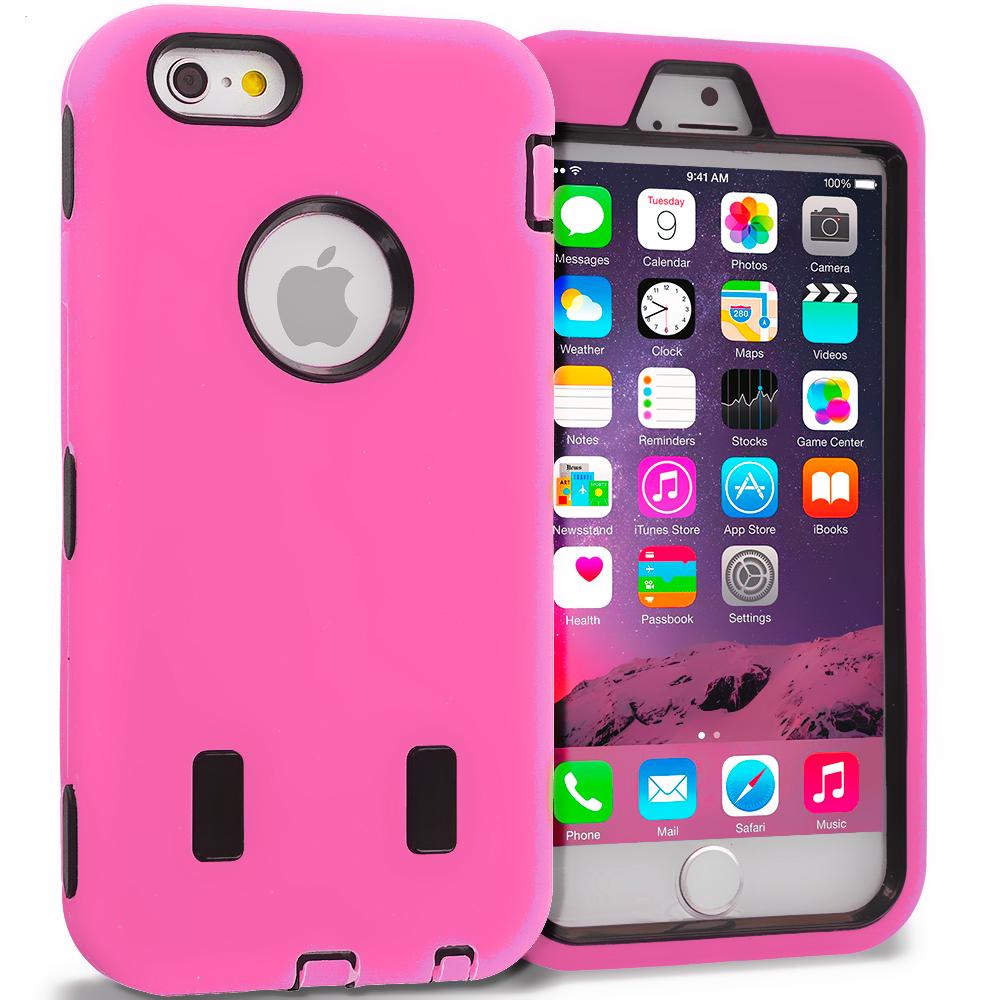 Apple iPhone 6 6S (4.7) Light Pink / Black Hybrid Deluxe Hard/Soft Case Cover