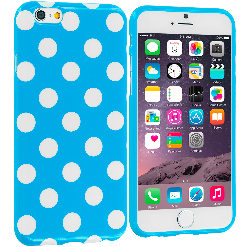 Apple iPhone 6 Plus 6S Plus (5.5) 4 in 1 Combo Bundle Pack - TPU Polka Dot Skin Case Cover : Color Baby Blue / White