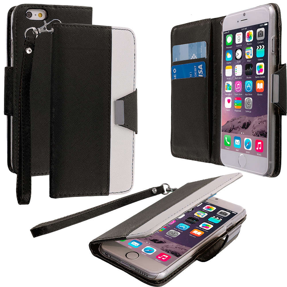 Apple iPhone 6 Plus 6S Plus (5.5) Black Wallet Magnetic Metal Flap Case Cover With Card Slots