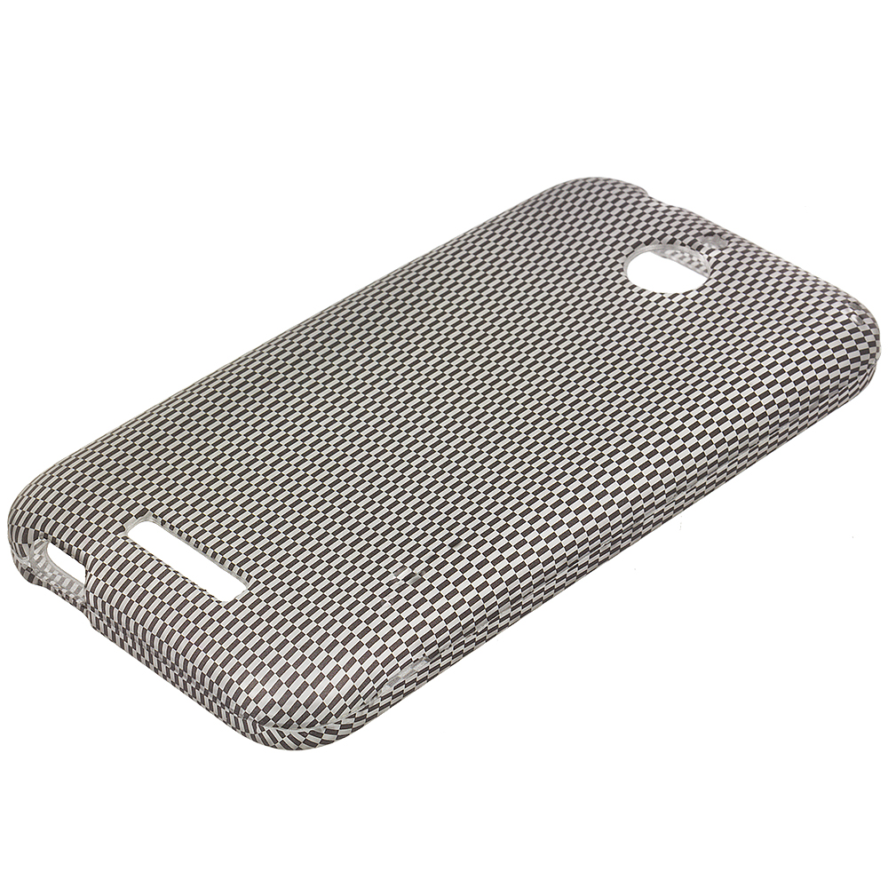 HTC Desire 510 512 Carbon Fiber 2D Hard Rubberized Design Case Cover