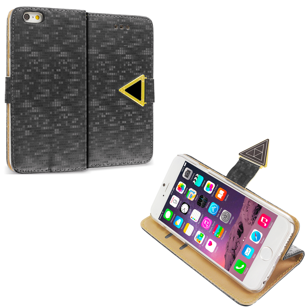 Apple iPhone 6 6S (4.7) Black Luxury Wallet Diamond Pixels Design Case Cover With Slots