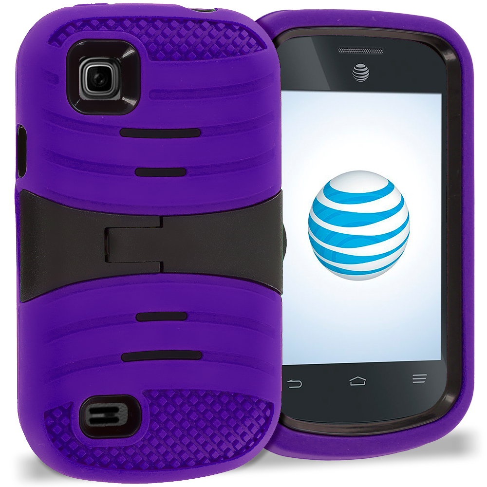 ZTE Avail 2 Z992 Purple / Black Hybrid Heavy Duty Shockproof Case Cover with Stand