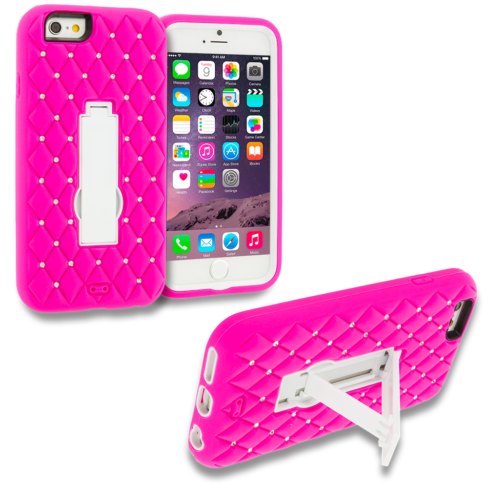 Apple iPhone 6 6S (4.7) 3 in 1 Combo Bundle Pack - Hybrid Diamond Bling Hard Soft Case Cover with Kickstand : Color Hot Pink / White