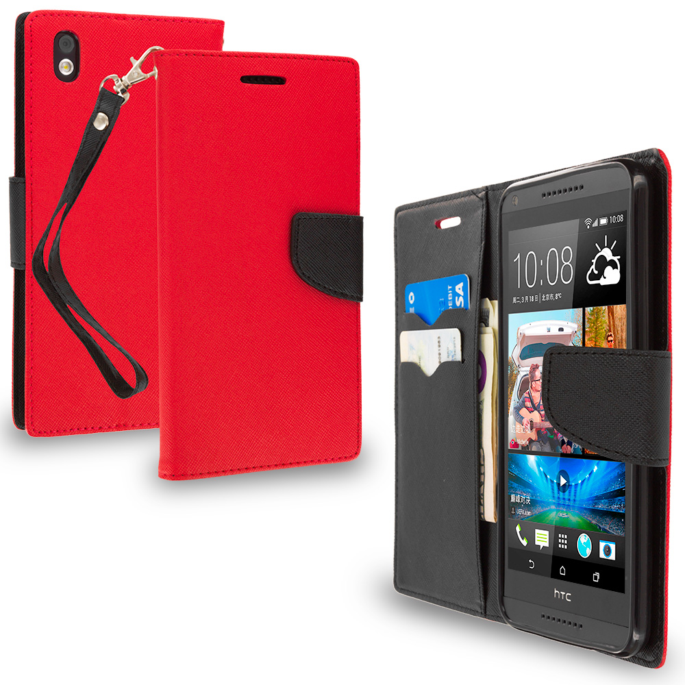 HTC Desire 816 Red / Black Leather Flip Wallet Pouch TPU Case Cover with ID Card Slots