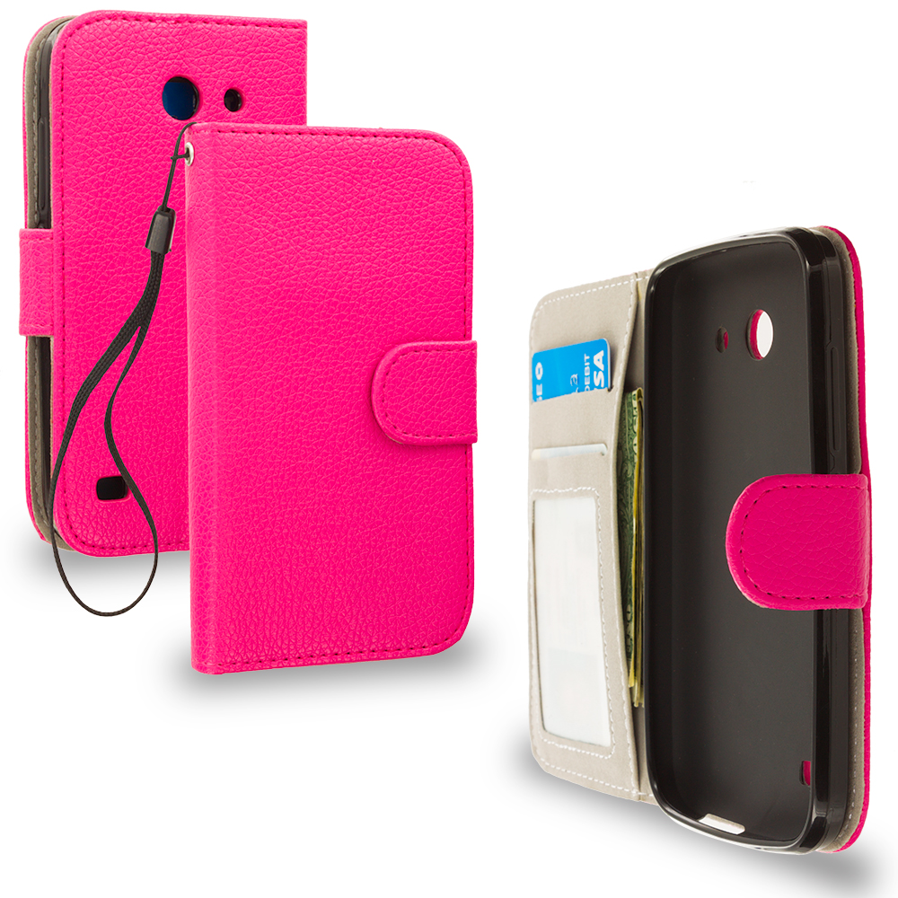 Huawei Tribute Fusion 3 Y536A1 Hot Pink Leather Wallet Pouch Case Cover with Slots