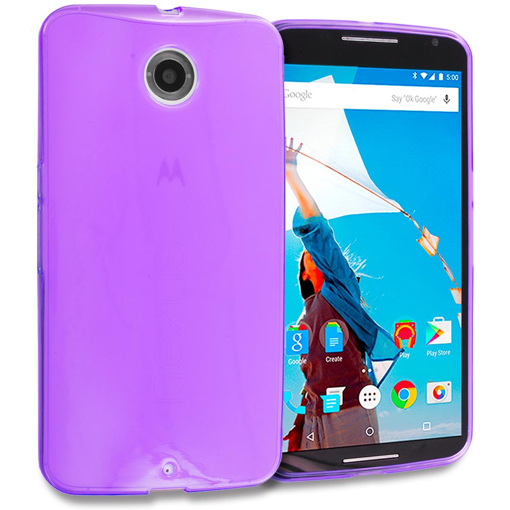 Motorola Google Nexus 6 Purple TPU Rubber Skin Case Cover