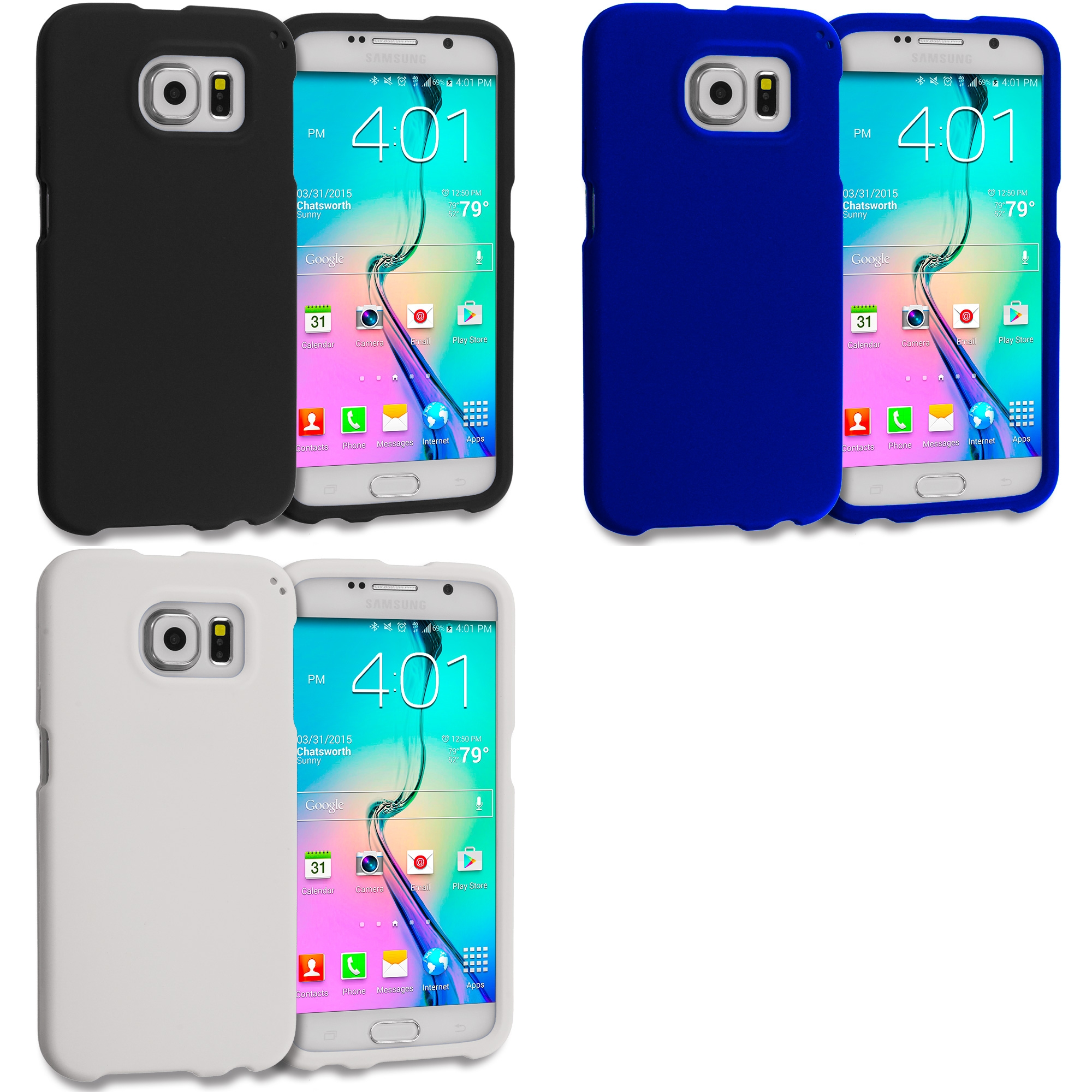 Samsung Galaxy S6 Combo Pack : Black Hard Rubberized Case Cover
