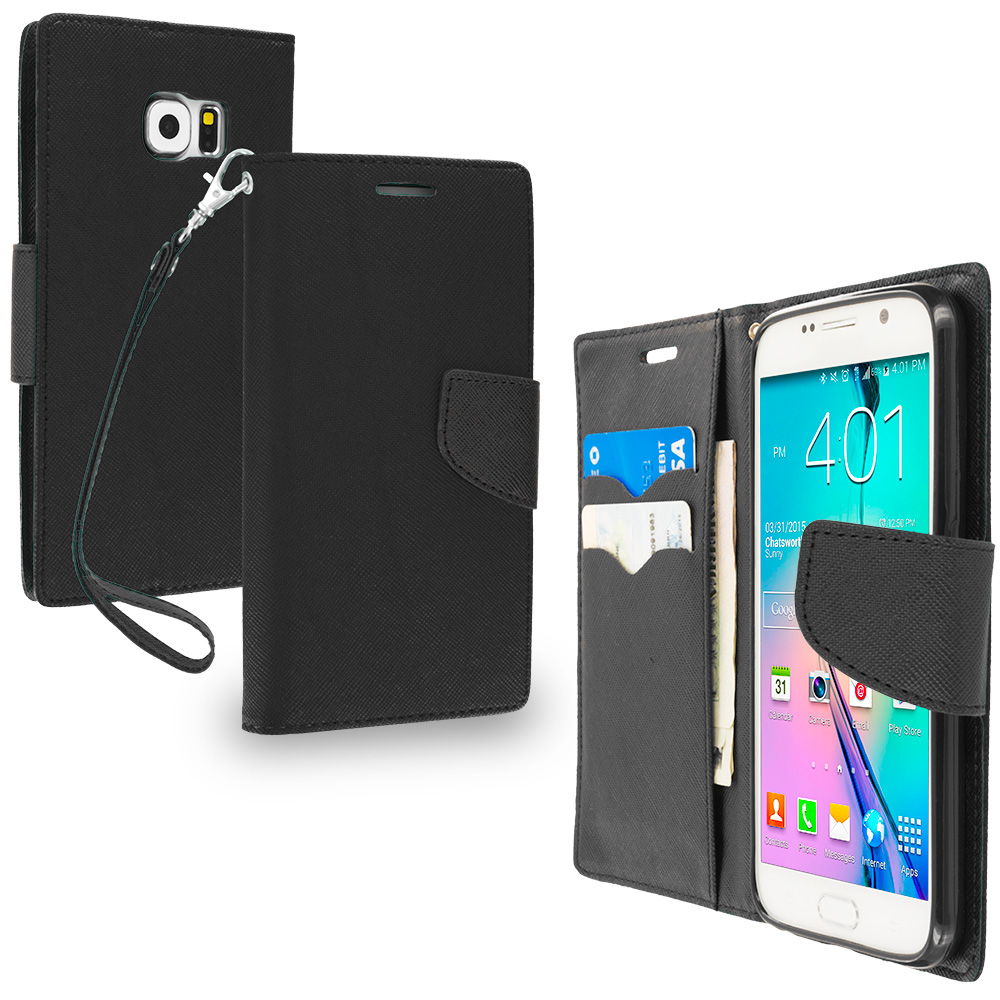 Samsung Galaxy S6 2 in 1 Combo Bundle Pack - Leather Flip Wallet Pouch TPU Case Cover with ID Card Slots : Color Black / Black