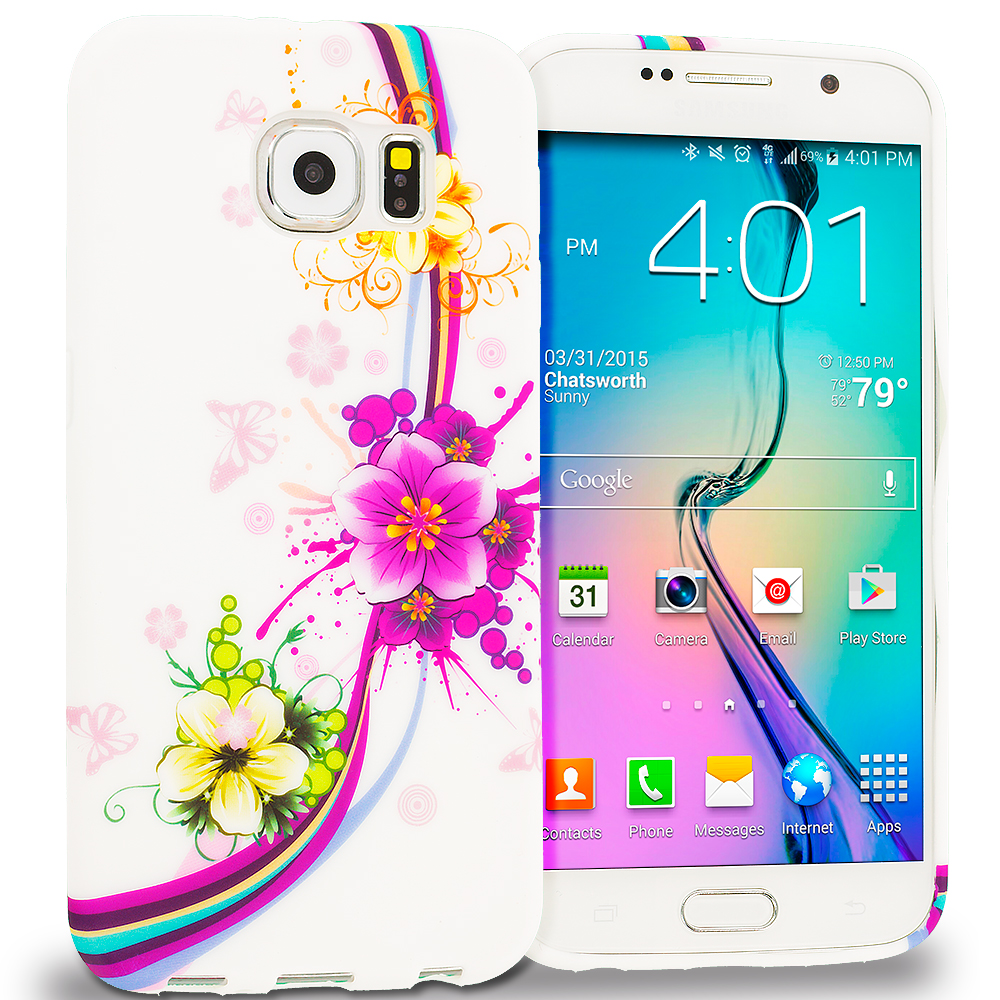 Samsung Galaxy S6 Purple Flower Chain TPU Design Soft Rubber Case Cover