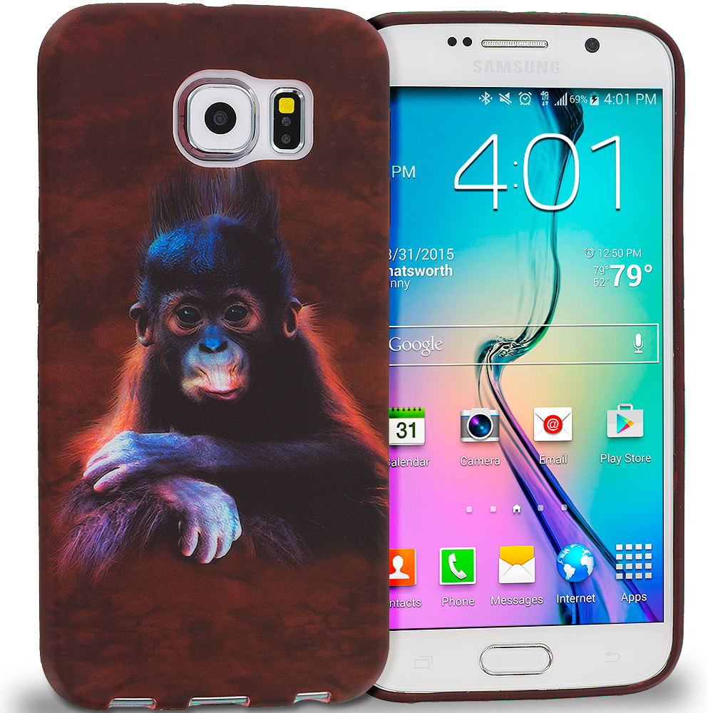 Samsung Galaxy S6 Combo Pack : Tiger TPU Design Soft Rubber Case Cover : Color Monkey