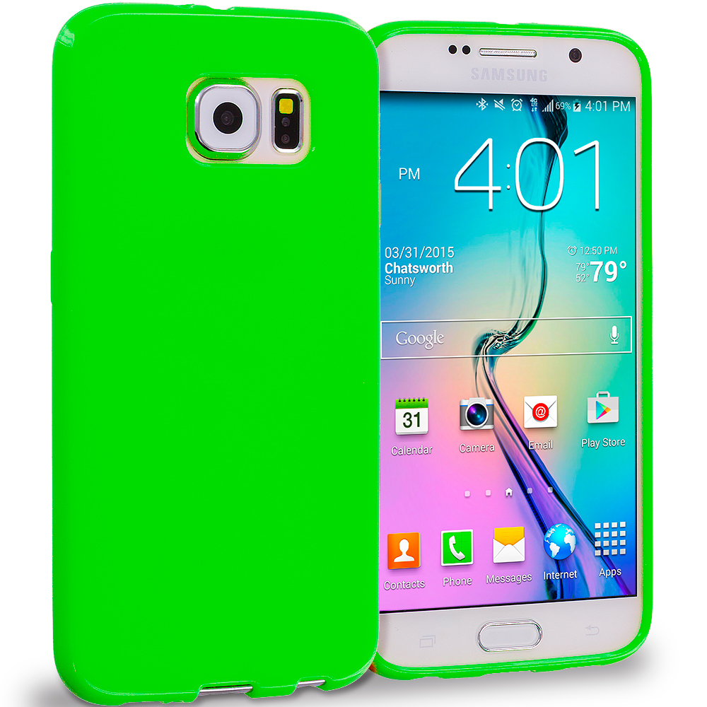 Samsung Galaxy S6 Combo Pack : Blue Solid TPU Rubber Skin Case Cover : Color Neon Green Solid