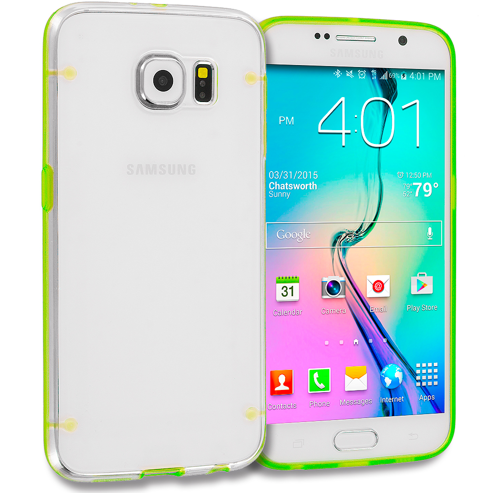 Samsung Galaxy S6 Combo Pack : Baby Blue Crystal Robot Hard TPU Case Cover : Color Green