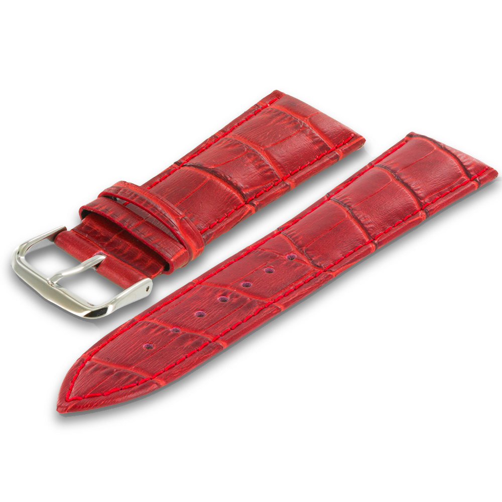 Apple Watch 42mm Red Crocodile Leather Premium Buckle Watch Band Strap