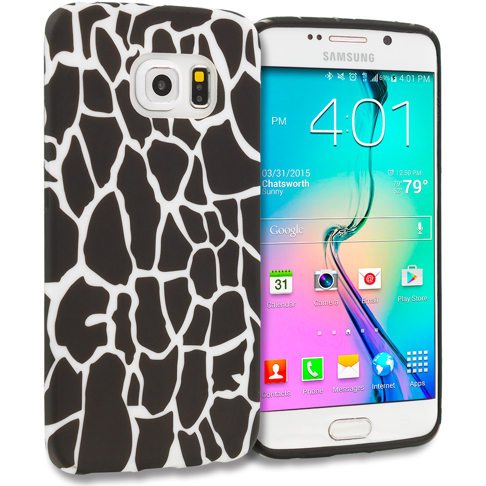 Samsung Galaxy S6 Edge Black Giraffe TPU Design Soft Rubber Case Cover