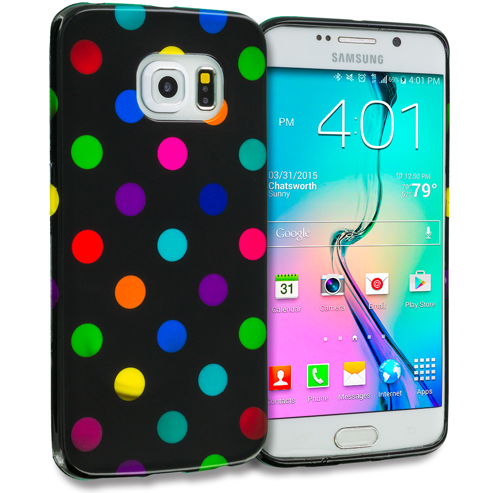Samsung Galaxy S6 Edge Black / Colorful TPU Polka Dot Skin Case Cover