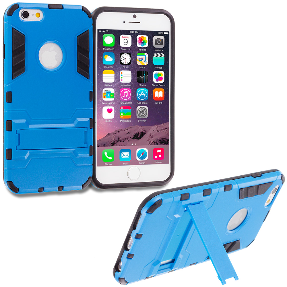 Apple iPhone 6 Plus 6S Plus (5.5) Blue Hybrid Transformer Armor Slim Shockproof Case Cover Kickstand