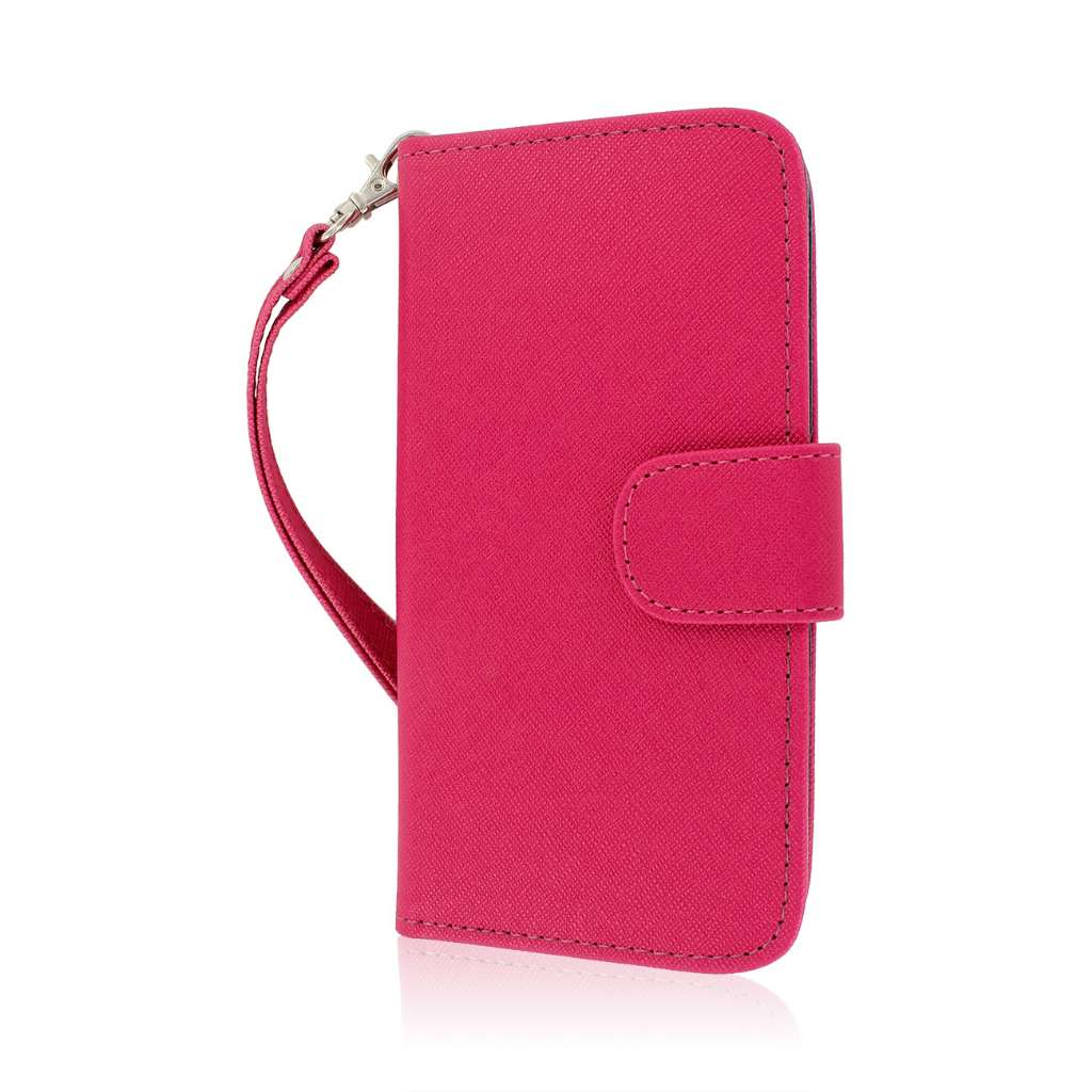 HTC One M8 M8 - Pink/ Navy Blue MPERO FLEX FLIP Wallet Case Cover