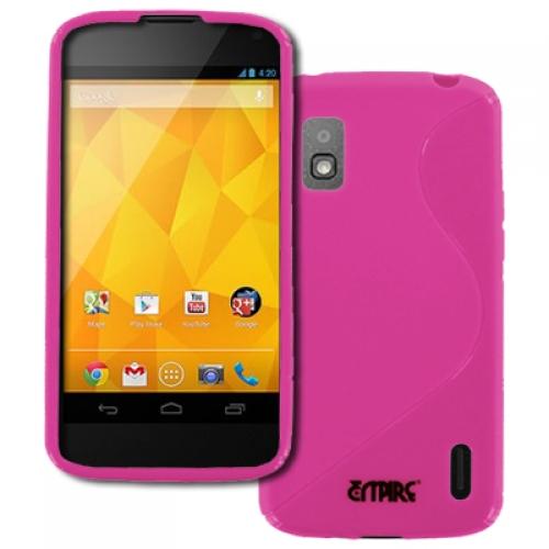Google Nexus 4 E960 MPERO Flexible S-Shape Poly Skin TPU Hot Pink Case Cover