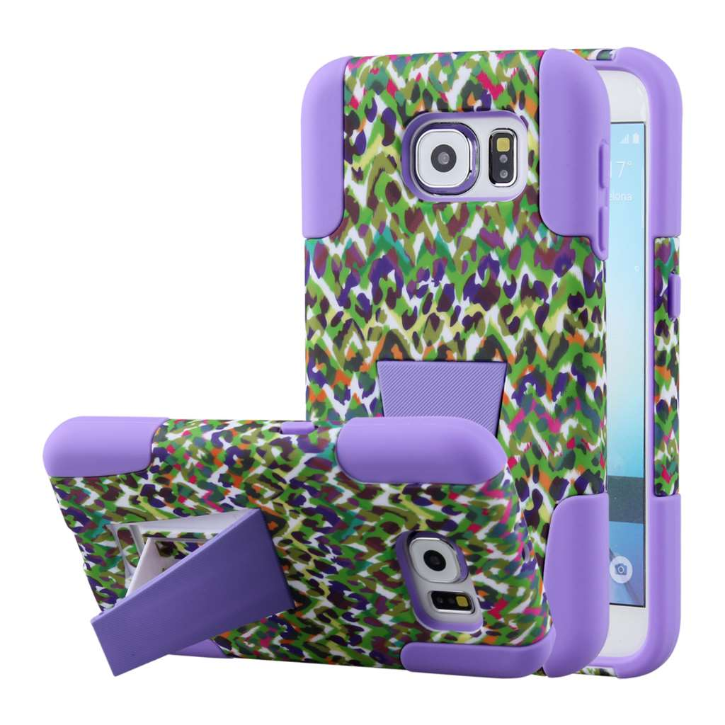 Samsung Galaxy S6 - Purple Rainbow Leopard MPERO IMPACT X - Kickstand Case