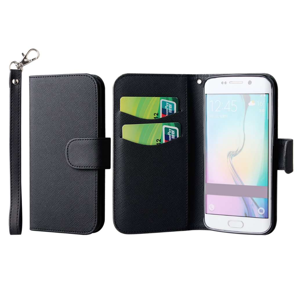 Samsung Galaxy S6 Edge - Black MPERO FLEX FLIP Wallet Case Cover