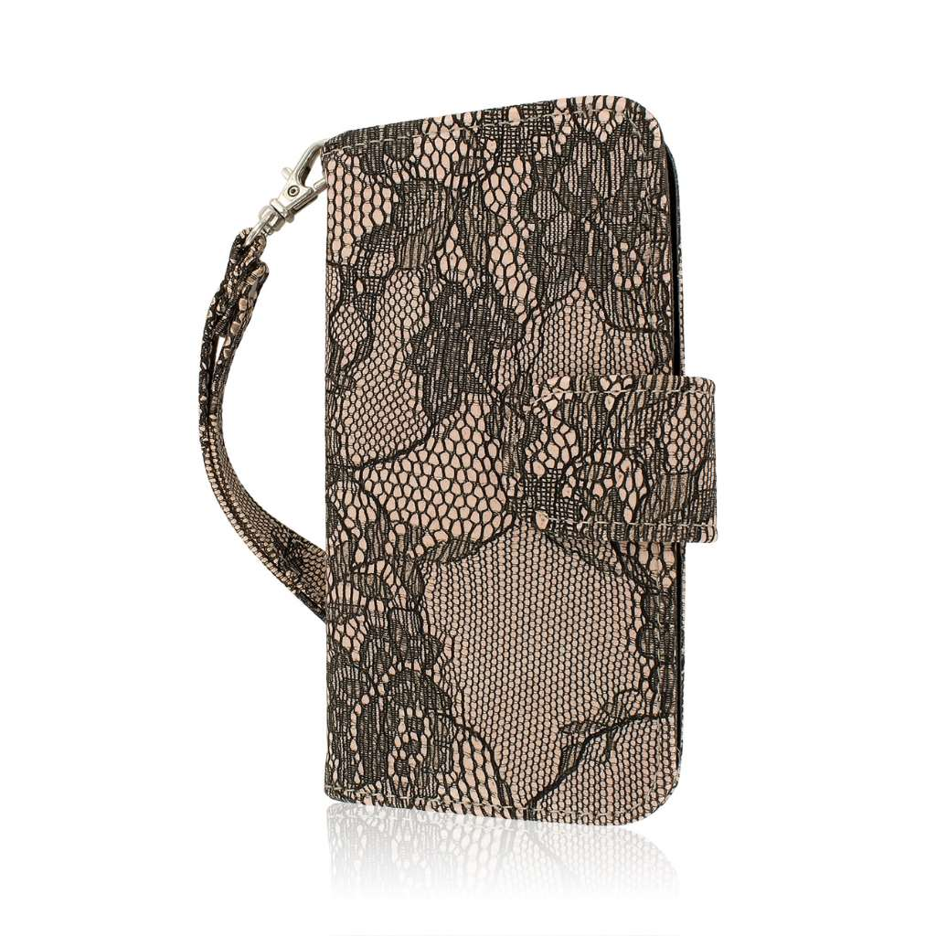 Samsung Galaxy S5 Mini - Black Lace MPERO FLEX FLIP Wallet Case Cover