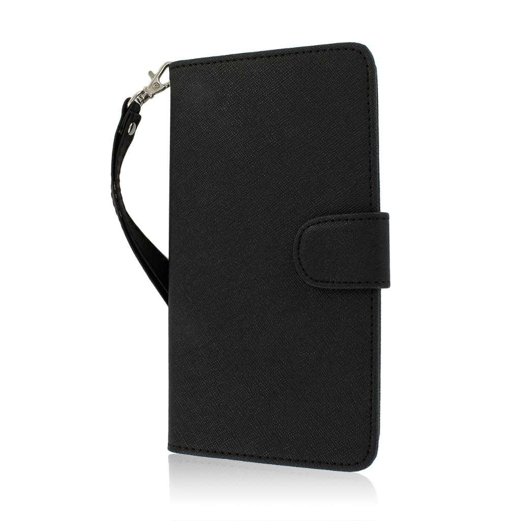 HTC One Max T6- BLACK MPERO FLEX FLIP Wallet Case Cover