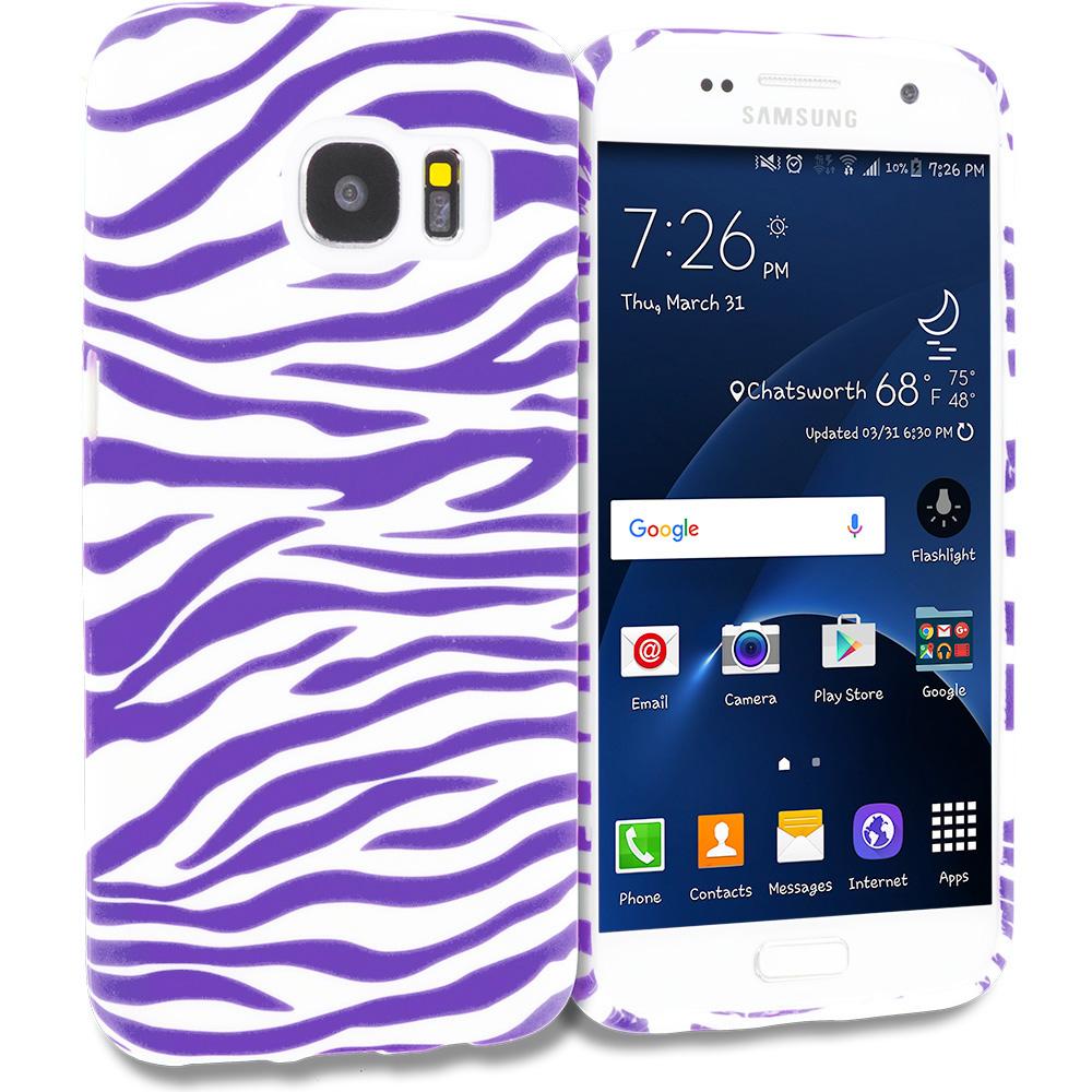 Samsung Galaxy S7 Edge Purple / White Zebra TPU Design Soft Rubber Case Cover