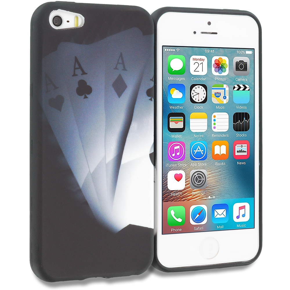 Apple iPhone 5/5S/SE Combo Pack : Ace Cards TPU Design Soft Rubber Case Cover : Color Ace Cards