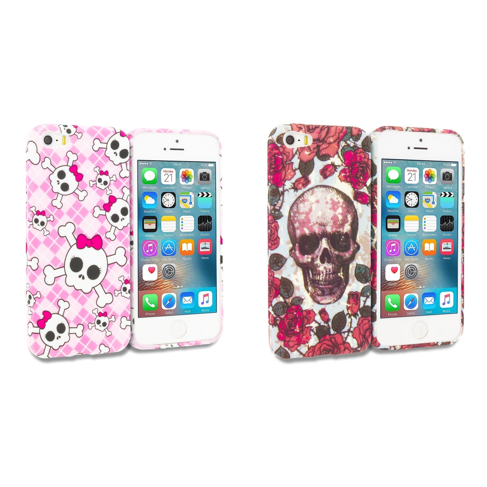 Apple iPhone 5/5S/SE Combo Pack : Cute Skulls TPU Design Soft Rubber Case Cover