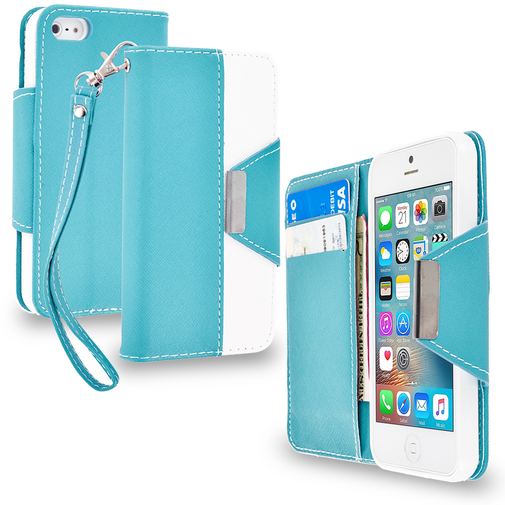 Apple iPhone 5/5S/SE Combo Pack : Baby Blue Wallet Magnetic Metal Flap Case Cover With Card Slots : Color Baby Blue
