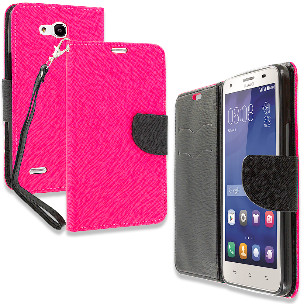 Huawei Honor 3x G750 Hot Pink Leather Flip Wallet Pouch TPU Case Cover with ID Card Slots