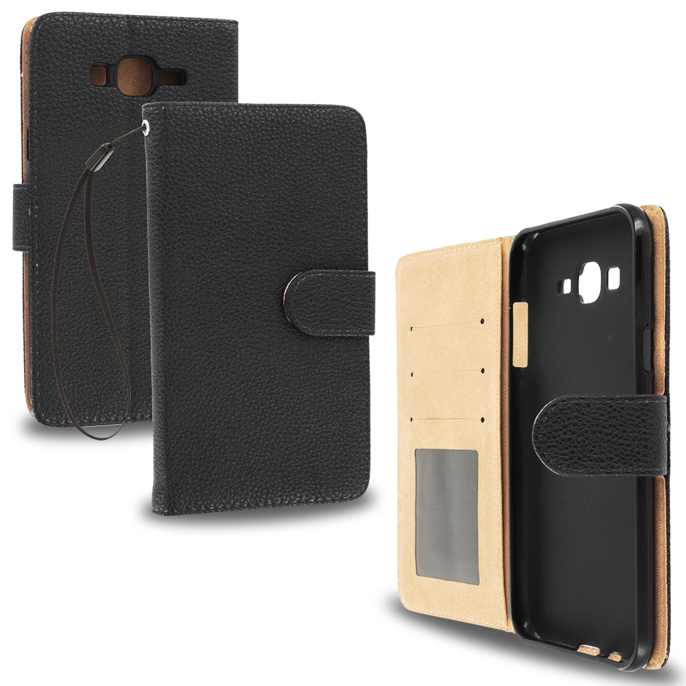 Samsung Galaxy J7 Black Leather Wallet Pouch Case Cover with Slots