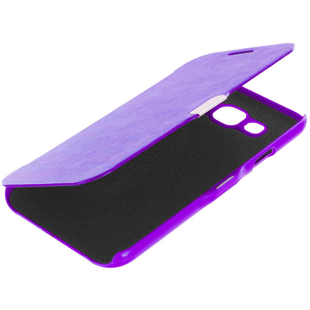 Samsung Galaxy E5 S978L Purple Magnetic Flip Wallet Case Cover Pouch