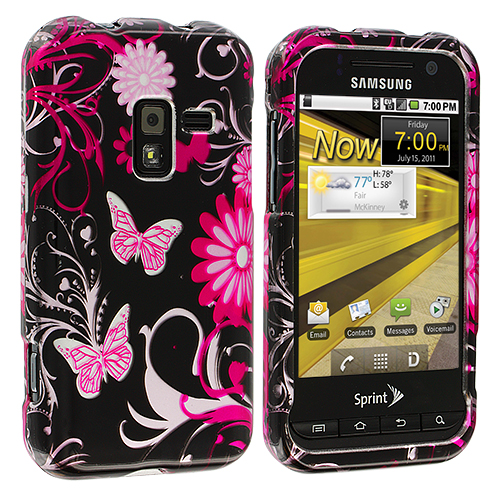 Samsung Conquer 4G D600 Pink Butterfly Flowers Design Crystal Hard Case Cover