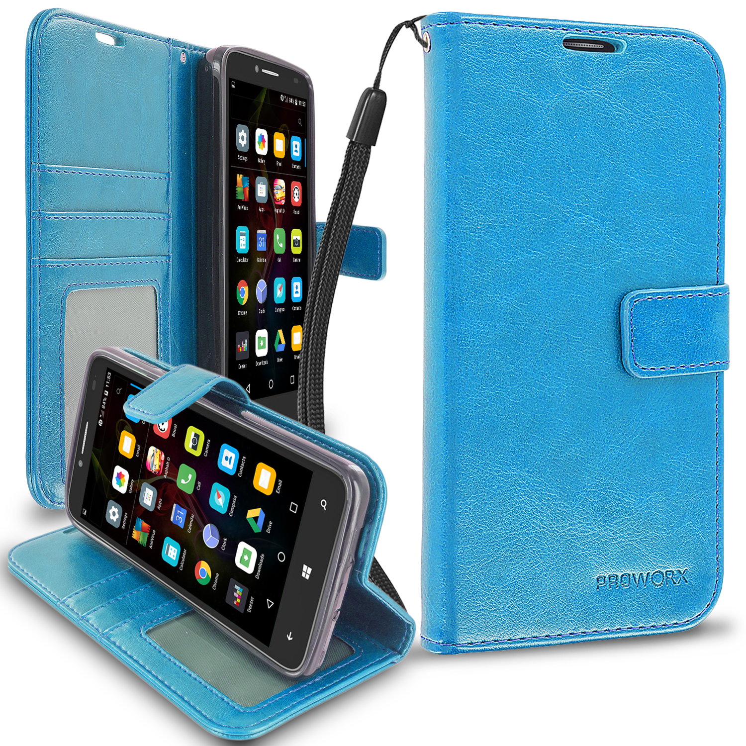 Alcatel OneTouch Fierce XL Baby Blue ProWorx Wallet Case Luxury PU Leather Case Cover With Card Slots & Stand