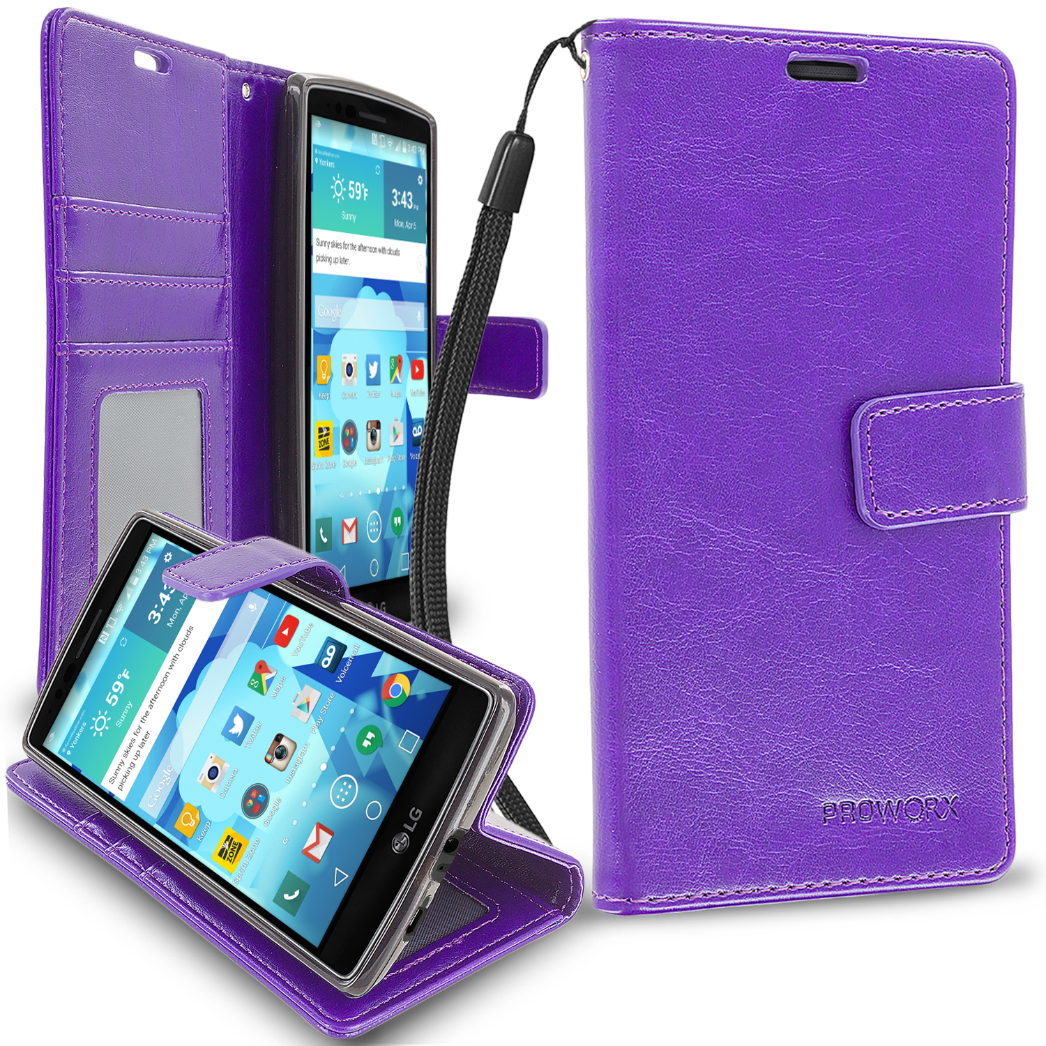 LG G Flex 2 Purple ProWorx Wallet Case Luxury PU Leather Case Cover With Card Slots & Stand