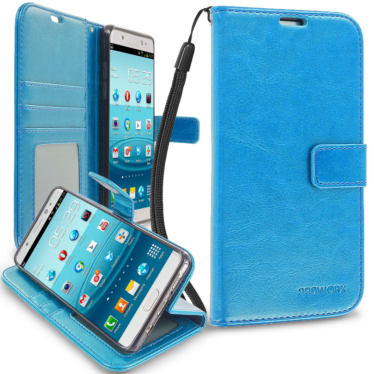 Samsung Galaxy Note 7 Baby Blue ProWorx Wallet Case Luxury PU Leather Case Cover With Card Slots & Stand