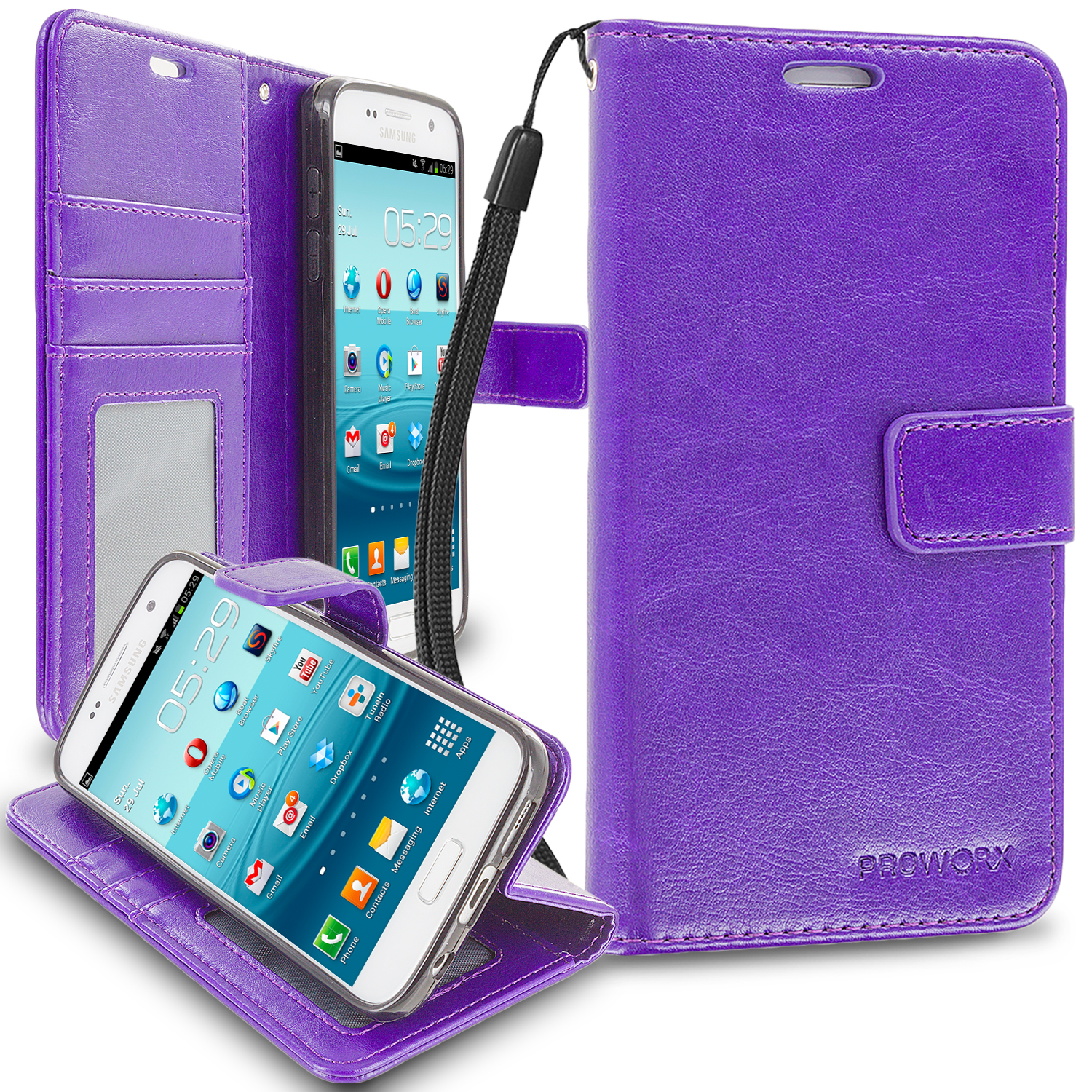 Samsung Galaxy S7 Purple ProWorx Wallet Case Luxury PU Leather Case Cover With Card Slots & Stand