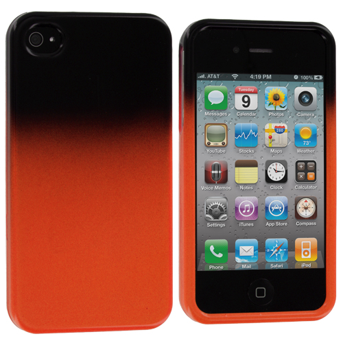 Apple iPhone 4 / 4S 2 in 1 Combo Bundle Pack - Orange / White Two-Tone Hard Case Cover : Color Black / Orange