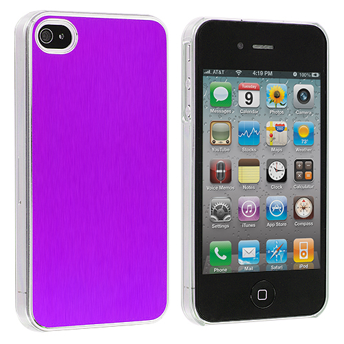Apple iPhone 4 / 4S 2 in 1 Combo Bundle Pack - Green Purple Aluminium Brushed Aluminum Metal Hard Case Cover : Color Purple Aluminium Brushed