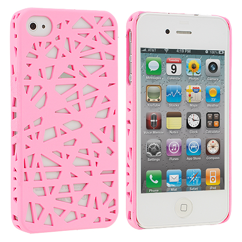 Apple iPhone 4 / 4S 2 in 1 Combo Bundle Pack - White Pink Birds Nest Hard Rubberized Back Cover Case : Color Light Pink Birds Nest