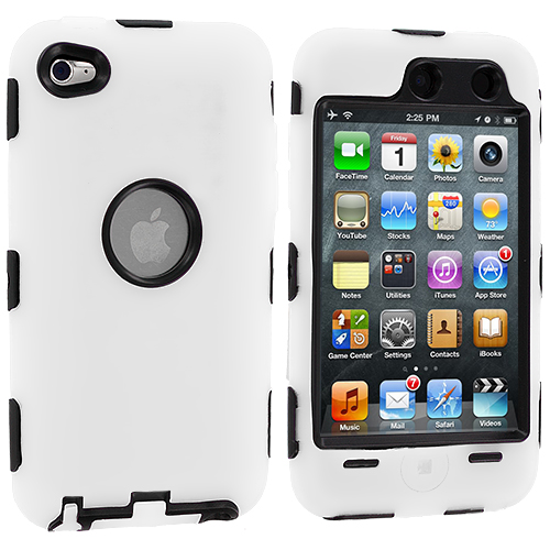 Apple iPod Touch 4th Generation White Deluxe Hybrid Deluxe Hard/Soft Case Cover
