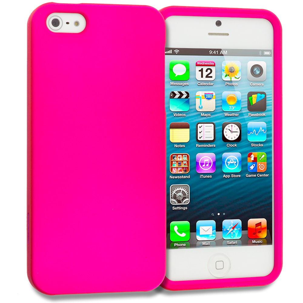 Apple iPhone 5/5S/SE Hot Pink Hard Rubberized Case Cover