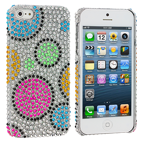 Apple iPhone 5/5S/SE Combo Pack : Colorful Hubble Bubble Bling Rhinestone Case Cover : Color Colorful Hubble Bubble