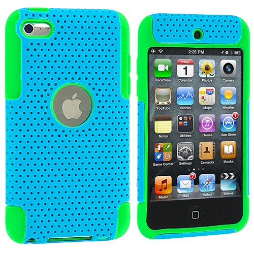 Apple iPod Touch 4th Generation Green / Baby Blue Hybrid Mesh Hard/Soft Case Cover
