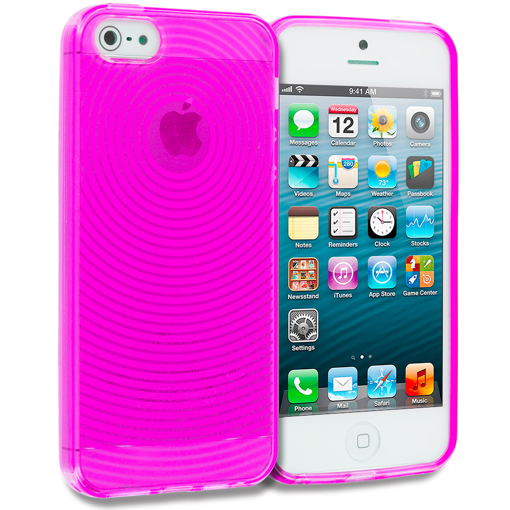 Apple iPhone 5/5S/SE 2 in 1 Combo Bundle Pack - Hot Pink Purple Fingerprint TPU Rubber Skin Case Cover : Color Hot Pink Fingerprint