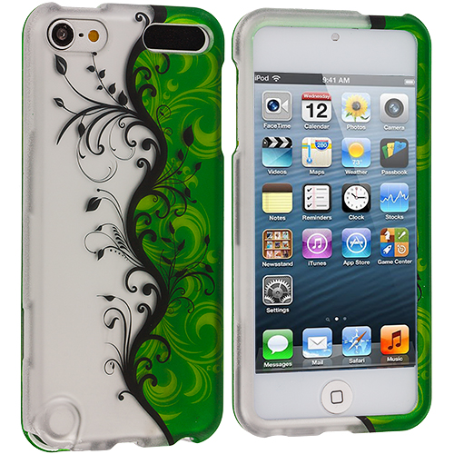 Apple iPod Touch 5th 6th Generation Green / White Flower Hard Rubberized Design Case Cover